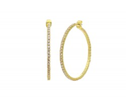 Gold Memory Wire Crystal 45 mm Hoop Earrings