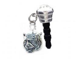 Tiger Head Silver Phone Plug Charm