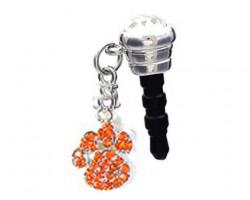 Orange Crystal Paw Print Phone Plug Charm