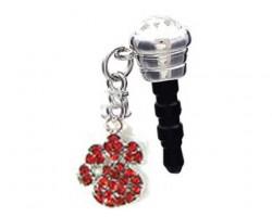 Red Crystal Paw Print Phone Plug Charm