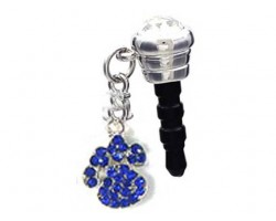 Sapphire Blue Crystal Paw Print Phone Plug Charm