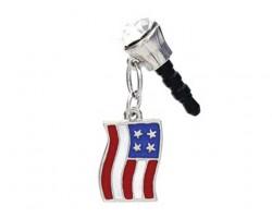 American Flag Crystal Phone Plug