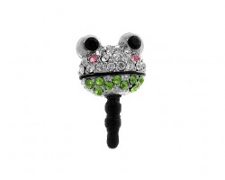 Frog Face Peridot Clear and Light Rose Crystal Phone Plug