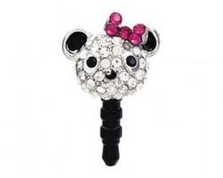 Bear with Pink Bow Crystal Phone Plug