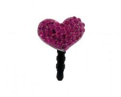 Heart Fuchsia Crystal Phone Plug