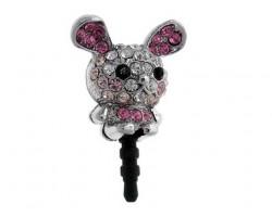 Rabbit with Pink Crystal Phone Plug