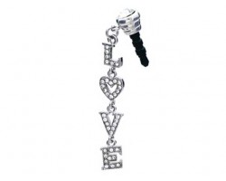 LOVE Dangle Letters Clear Crystal Phone Plug