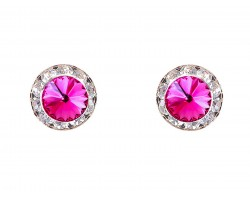 Fuchsia Crystal Rivoli Gold Rondelle Stud Post Earrings