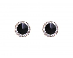 Jet Crystal Rivoli Round Gold Post Earrings
