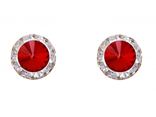 Red Siam Crystal Rivoli Round Gold Post Earrings