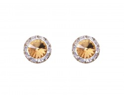 LCT Crystal Rivoli Round Gold Post Earrings