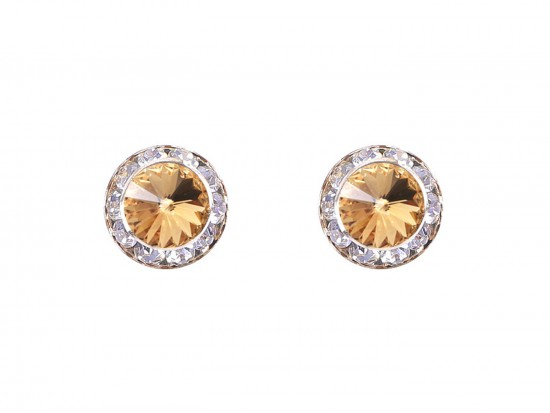 LCT Crystal Rivoli Round Gold Post Earrings
