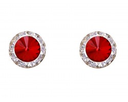Red Siam Crystal Rivoli Gold Rondelle Stud Post Earrings
