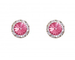 Rose Pink Crystal Rivoli Gold Rondelle Stud Post Earrings