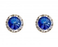 Blue Sapphire Crystal Rivoli Gold Rondelle Stud Post Earrings