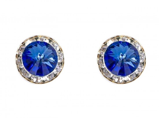 Blue Sapphire Crystal Rivoli Gold Rondelle Stud Post Earrings