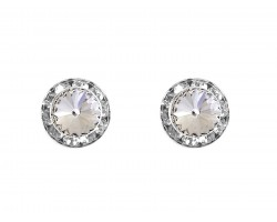 Clear Crystal Rivoli Round Silver Post Earrings