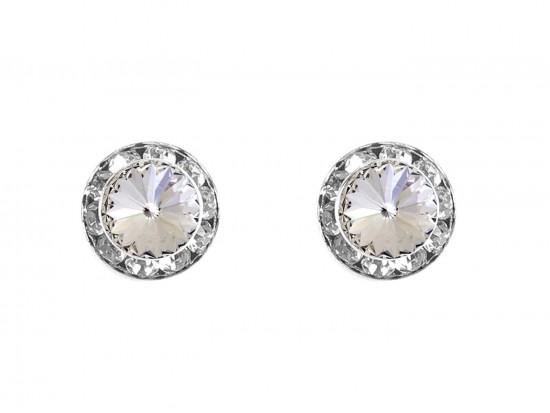 Clear Crystal Rivoli Round Silver Post Earrings