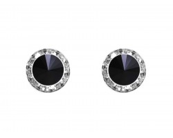 Jet Crystal Rivoli Round Silver Post Earrings