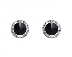 Jet Crystal Rivoli Round Silver Post Earrings