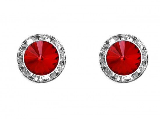 Red Siam Crystal Rivoli Round Silver Post Earrings