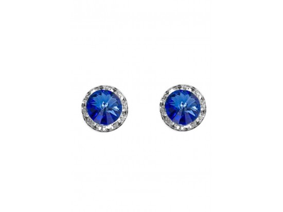Blue Sapphire Crystal Rivoli Round Silver Post Earrings