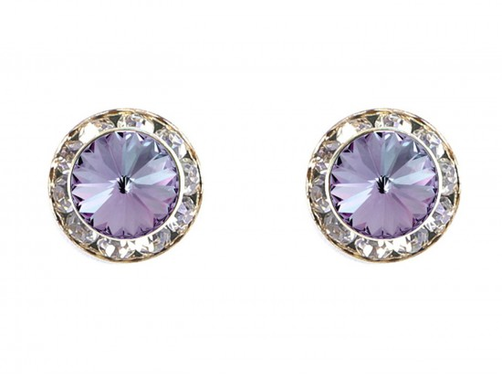 Purple Tanzanite Crystal Rivoli Gold Rondelle Stud Post Earrings