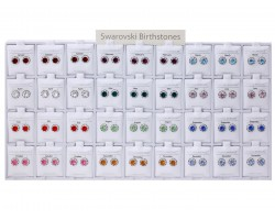 Birth Crystal Rivoli Silver Post Earrings 36 Pack