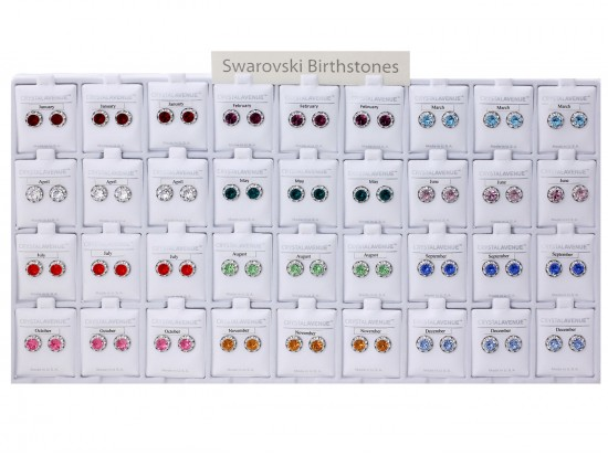 Birth Crystal Rivoli Silver Post Earrings 36 Pack