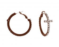 Copper Crystal Cross Hoop Earrings
