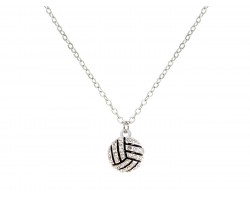 Silver Crystal Volleyball Necklace