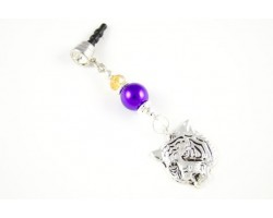 LSU Purple and Gold Tiger Head Silver Phone Plug Charm