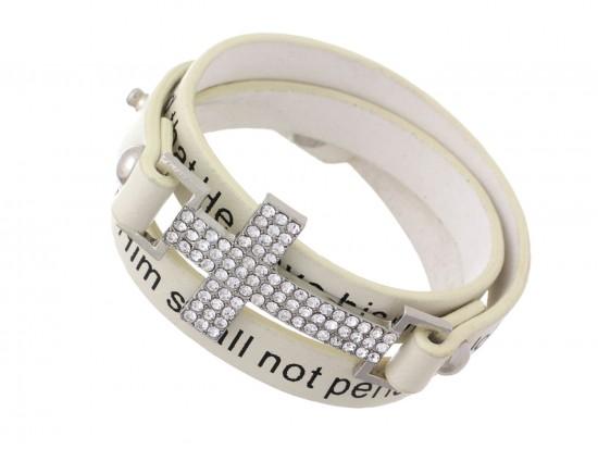 Beige Crystal Cross John 3:16 Wrap Snap Bracelet