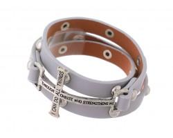 Gray Philippians 4:13 Stud Leather Wrap Bracelet