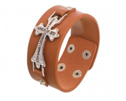 Light Brown Silver Crystal Cross Ephesians 6:11 Wrap Bracelet