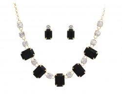 Black Rectangle Stone & Crystal Necklace Set