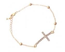 Crystal Cross & Gold Bead Link Bracelet