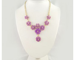 Light Purple Faceted Stone Flower Tier Gold Plate Necklace Set
