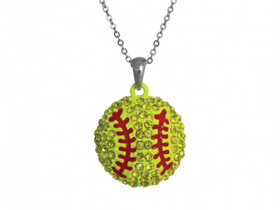 Yellow Crystal Softball Pendant Chain Necklace