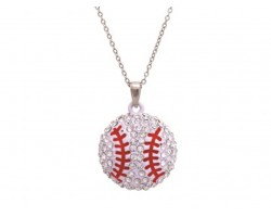 Clear Crystal Baseball Pendant Chain Necklace