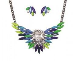 Blue Shades Bird Wing Crystal Bib Pendant Necklace Net