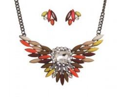 Brown Shades Bird Wing Crystal Bib Pendant Necklace Net