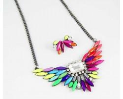Multi Shade Bird Wing Crystal Bib Pendant Necklace Set