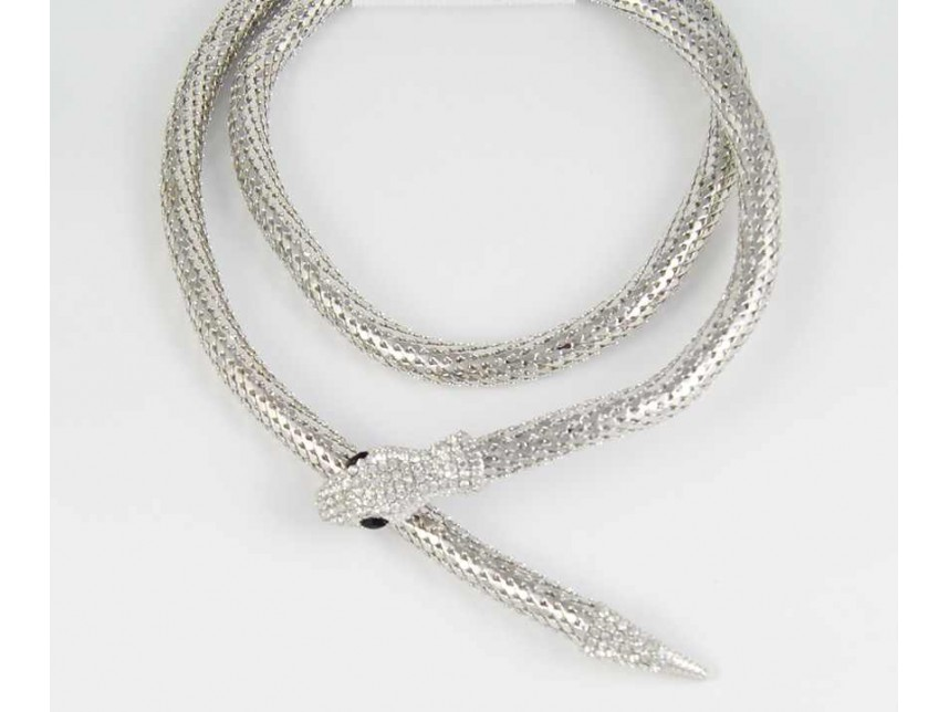 Silver plate snake chain magnetic snake necklace aloadofball Gallery