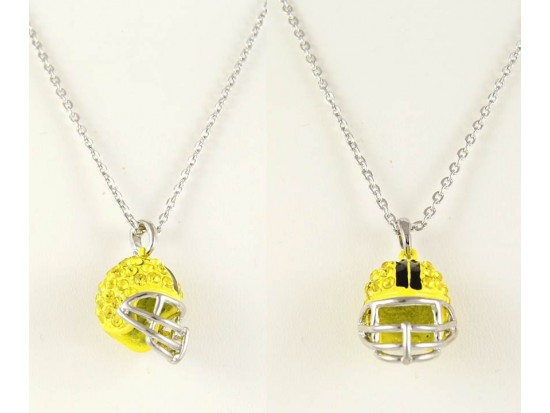 Yellow Citrine Crystal Football Helmet Necklace