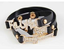 Black Leather Wrap Faith Heart & Cross Gold Crystal Bracelet