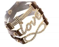 Brown Leather Wrap Gold Love Infinity Cross Bracelet