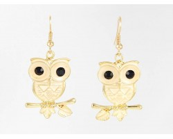 Beige Enamel G/P Owl Hook Earrings