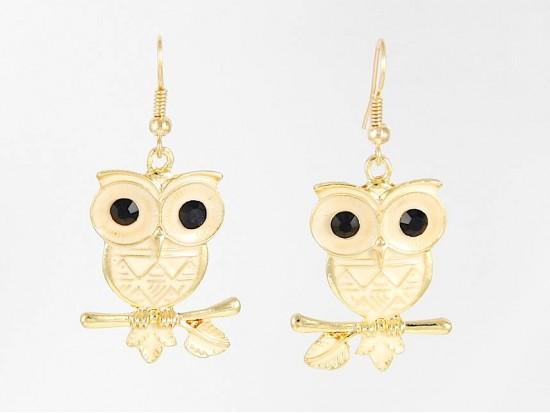 Beige Enamel G/P Owl Hook Earrings