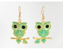 Green Enamel G/P Owl Hook Earrings